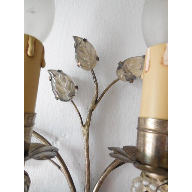 Glass French Maison Bagues Style Silver Floral Beaded Sconces For Sale - Image 7 of 10