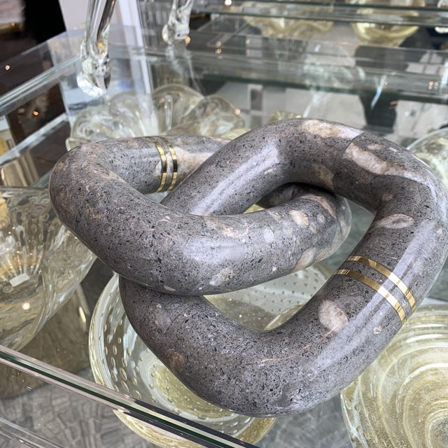 Modern Grey Marble Link Decortive Sculpture Object For Sale - Image 3 of 9