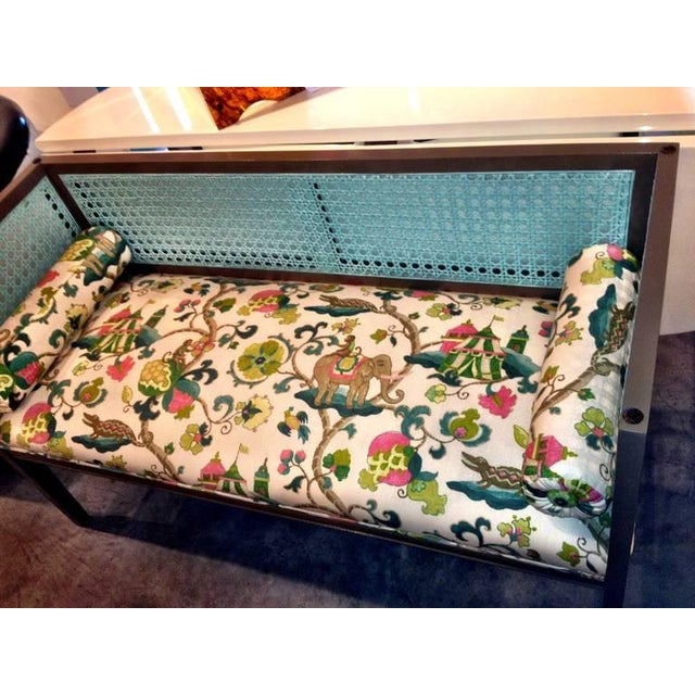 Mid-Century Modern Lacquered and Upholstered Regency Style Settee - Image 6 of 6