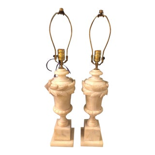 French Neoclassical Style White Alabaster Urn Shaped Table Lamps - a Pair For Sale