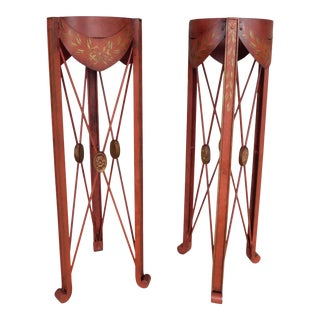 French Directoire Style Paint Decorated Steel Plant Stands - a Pair For Sale