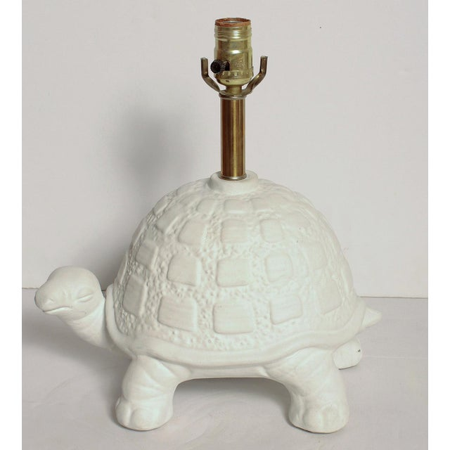 Modern White Plaster Turtle Table Lamp For Sale - Image 11 of 11