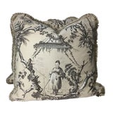 """Image of Chinoiserie Brunschwig and Fils """"Plaisirs D'Indochine"""" Linen and Cotton Printed Pillows - a Pair, 18""""x18"""" For Sale"""