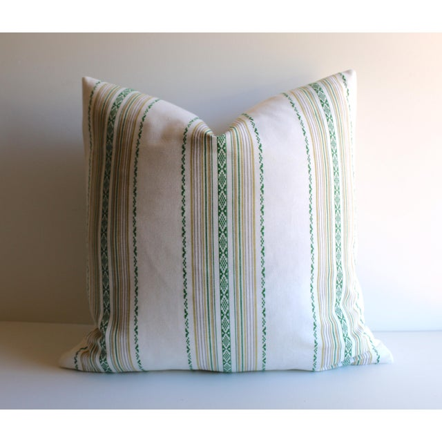 Embroidered Green Stripe Pillow - Image 4 of 4
