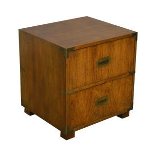 Baker Campaign Style Vintage Rosewood End Table Nightstand For Sale