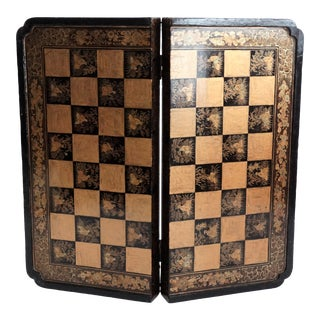 19th-Century Chinoiserie Games Box, Checkers, Chess, Backgammon For Sale