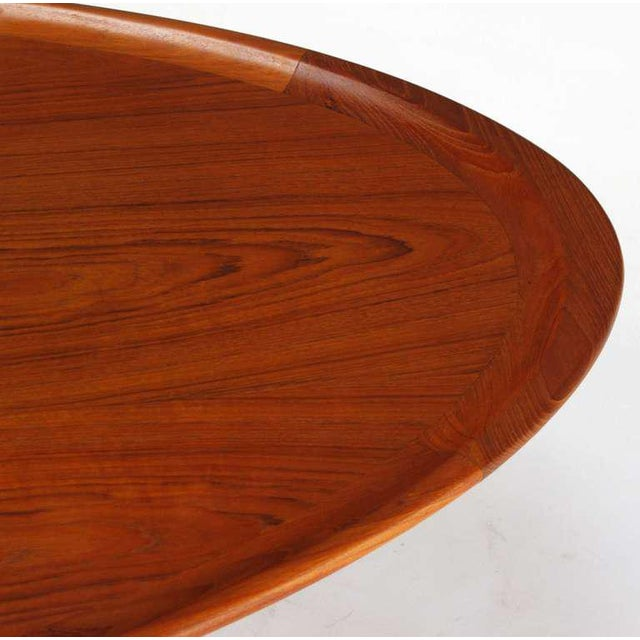 Sculpted Teak Oval Tray Coffee Table | Chairish