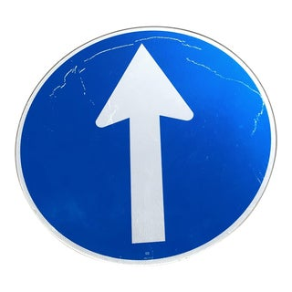 U K Blue Directional Arrow Sign