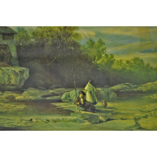 Blue Vintage Framed Landscape Print by Muller For Sale - Image 8 of 12
