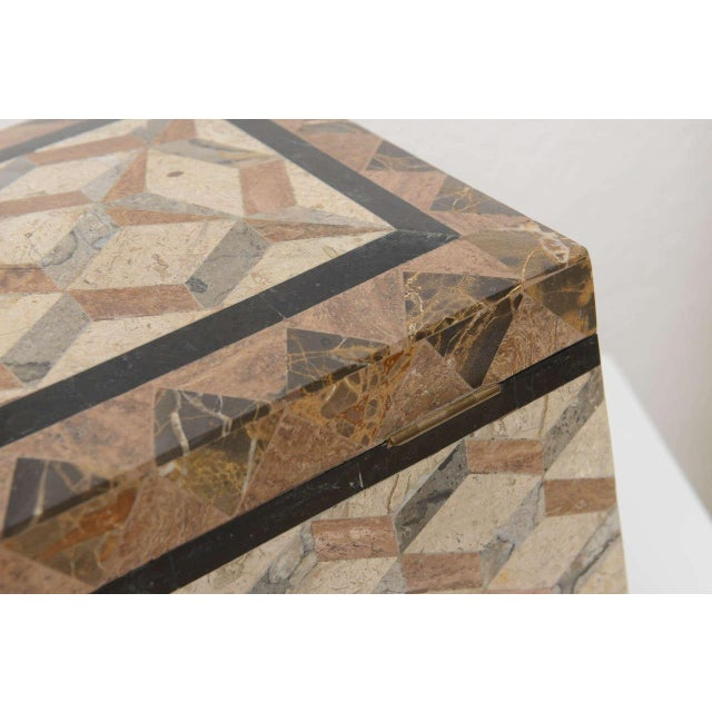 1980s English Regency Style Tessellated Stone Box For Sale - Image 5 of 11