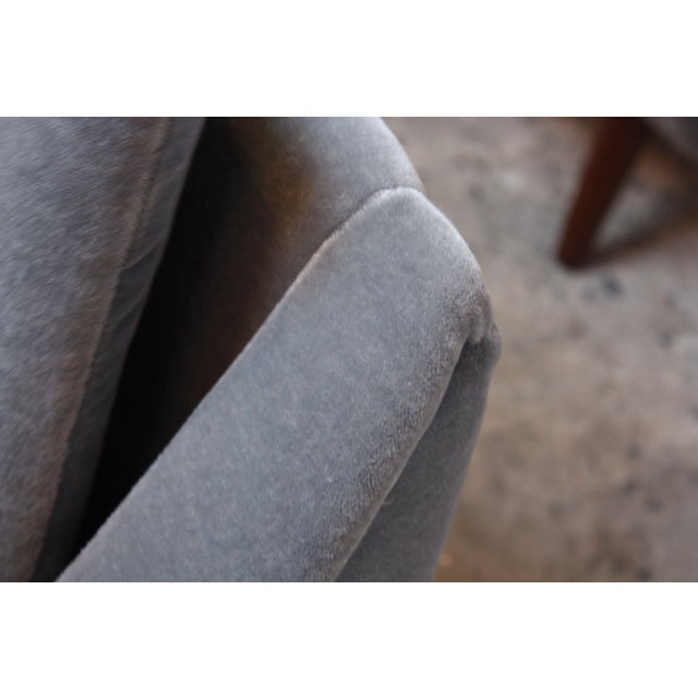 Pair of Danish Modern Teak and Mohair Lounge Chairs - Image 7 of 11