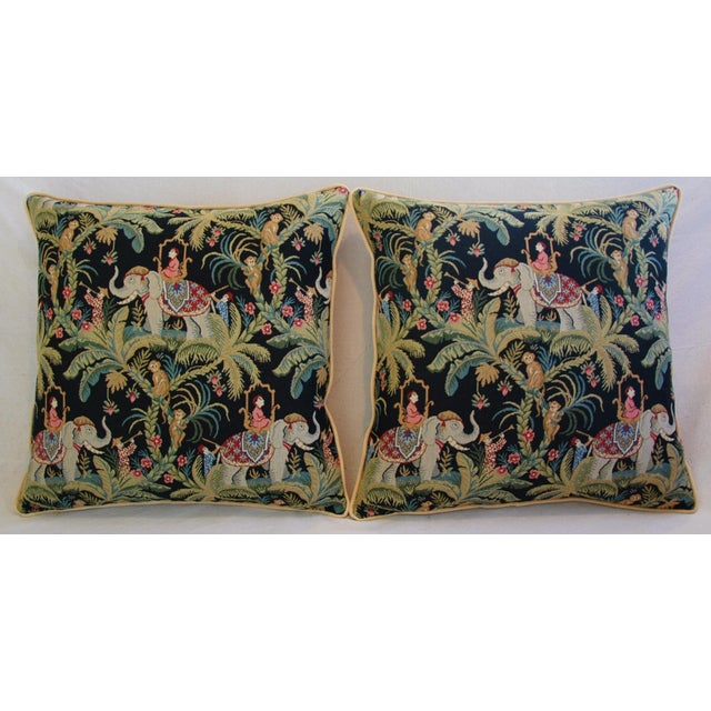 Custom English Tapestry Jungle Paradise Pillows - a Pair - Image 3 of 10