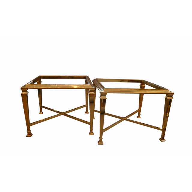 Maison Jansen Hollywood Regency French Maison Jansen Brass Tables With Glass Tops, Pair For Sale - Image 4 of 12