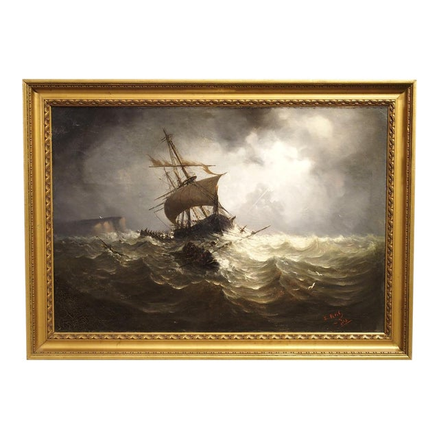 Antique Oil on Canvas Marine Painting From Normandy France, 1883 For Sale