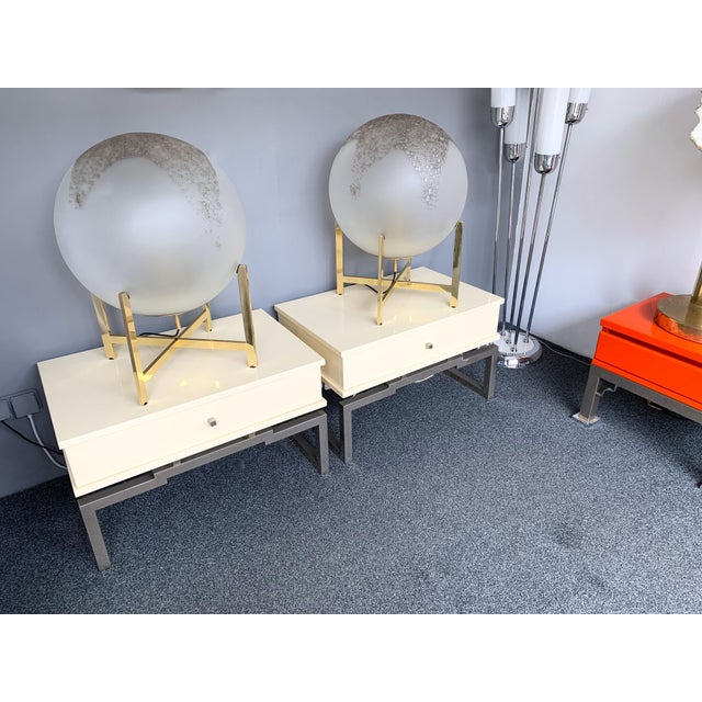 Chrome Pair of Lacquered and Metal Chrome Side Tables by Mario Sabot. Italy, 1970s For Sale - Image 7 of 13
