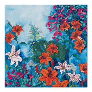 Twilight Night Jungle: Blooming Garden of Lilies on Blue Large Floral Painting Painting by Lara Meintjes For Sale
