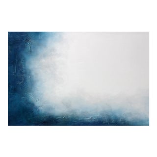 Large Original Textured Abstract Painting Dreamstate Blue Grey White Wall Hanging