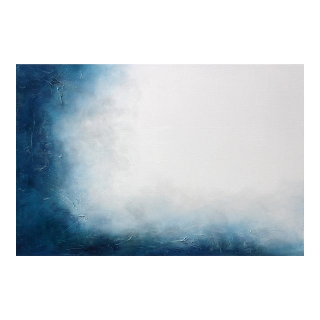 Large Original Textured Abstract Painting Dreamstate Blue Grey White Wall Hanging - Image 1 of 4