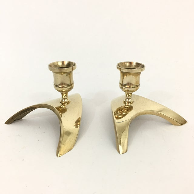 Brass Mid Century Modern Brass Triangle Candlestick Holders - a Pair For Sale - Image 8 of 8