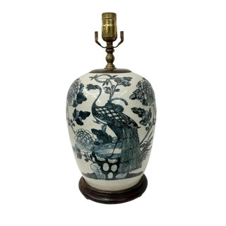 Late 19th Century Asian Antique Navy Blue Porcelain Celedon Peonies and Peacock Table Lamp For Sale