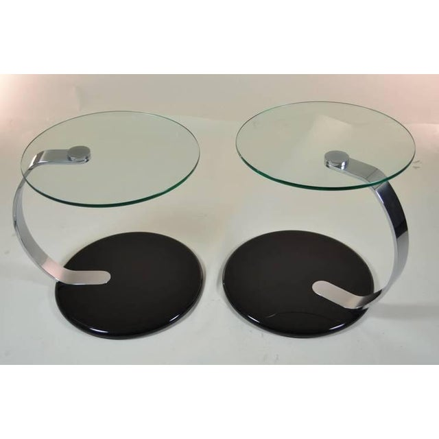 Pair of Modernist Chrome and Glass Tables For Sale - Image 4 of 10