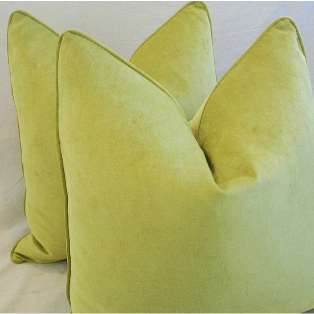 "Green Ultra Soft Apple Green Velvet Feather/Down Pillows 24"" Square - Pair For Sale - Image 8 of 10"