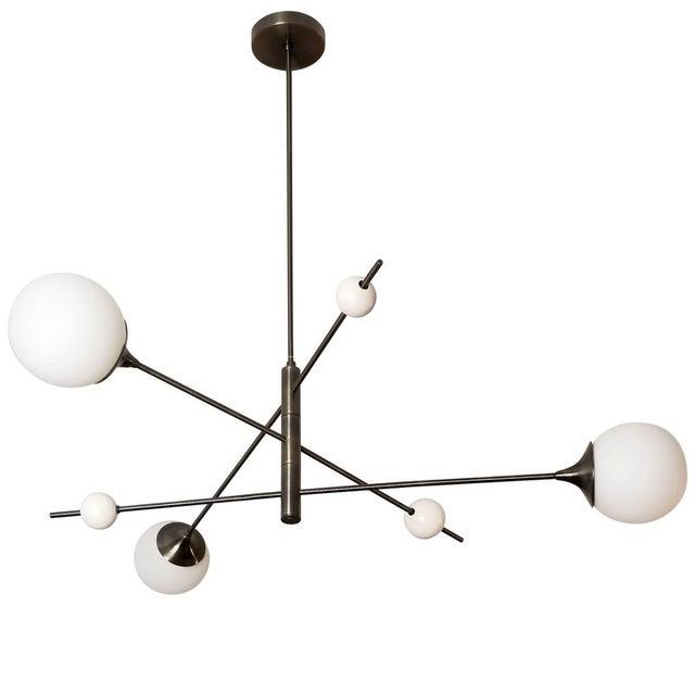 Blueprint Sculptural Enamel, Glass & Bronze Orbital 3-Arm Pendant For Sale - Image 9 of 12