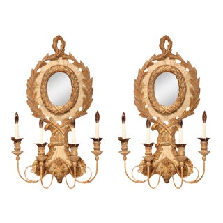Italian Carved Wood & Iron Painted Sconces - a Pair For Sale