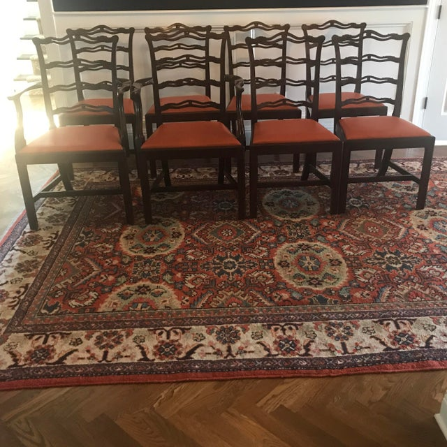 Leather Chippendale Ribbon Back Dining Chairs - Set of 8 For Sale - Image 7 of 8