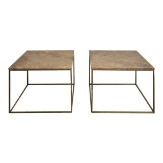 Milo Baughman Brass and Travertine Side Tables For Sale