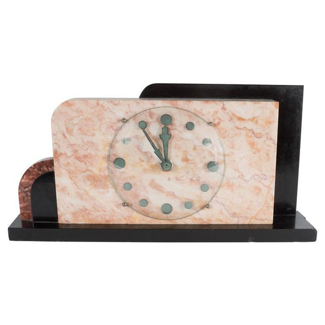 Pink French Art Deco Streamline Exotic Pink, Black and Red Marble Table Clock For Sale - Image 8 of 9