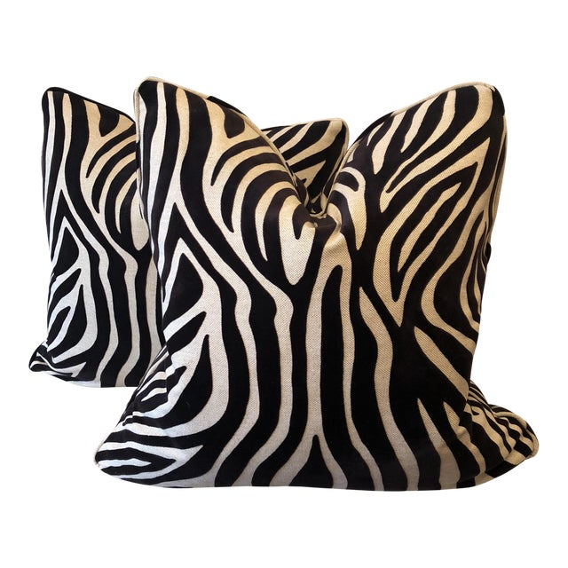 Zebra Velvet on Linen Pillows - A Pair For Sale