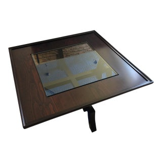 1990s Asian Style Roche Bobois Dark Cherrywood and Glass Coffee Table