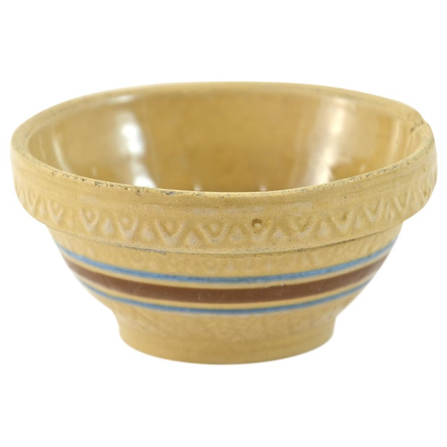 """1930s Blue Stripe 5"""" Yellow Ware Bowl - Image 1 of 5"""