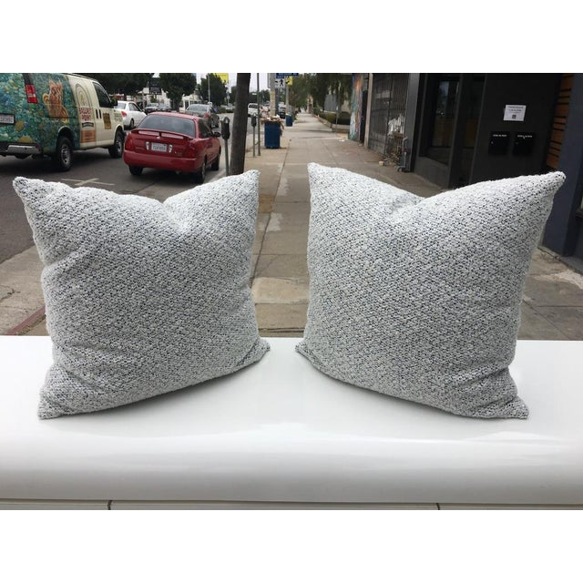 Custom White and Blue Boucle Pillows - A Pair For Sale - Image 9 of 9