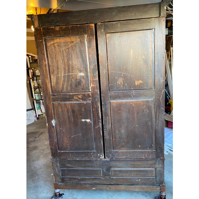 Mid 20th Century Antique Mahogany Armoire For Sale In Baltimore - Image 6 of 7