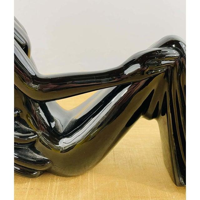 Black Art Deco Style Porcelain Figural Woman Sculpture Painted Black For Sale - Image 8 of 13