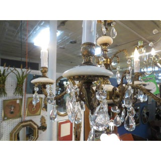 1940s Vintage Antique 5 Arm Crystal, Brass, and Alabaster Small Chandelier Preview