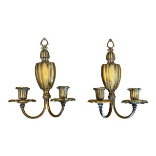 Pair of French Brass Wall Sconces For Sale