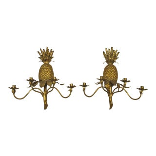 Large Gilt Metal Pineapple Sconces-Italy a Pair Circa 1960's For Sale