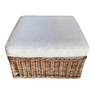 Boho Chic Rattan Bielecky Brothers Square Ottoman For Sale