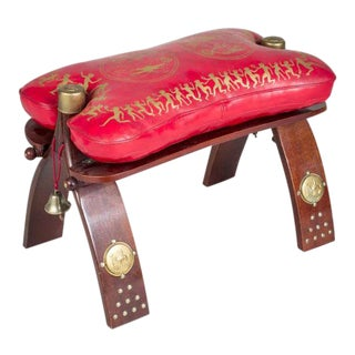 Moroccan Leather Camel Saddle For Sale