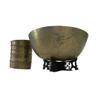 Antique Chinese Etched Brass Bowls