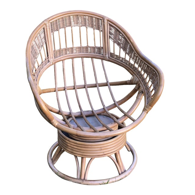 1970s Vintage Rattan Swivel Egg Chair For Sale
