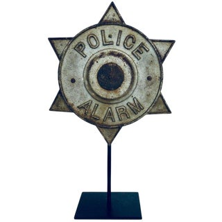 Rare Cast Iron Police Alarm Emblem on Custom Stand, Circa 1940s For Sale