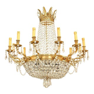 French Louis XVI Bronze and Crystal Chandelier For Sale
