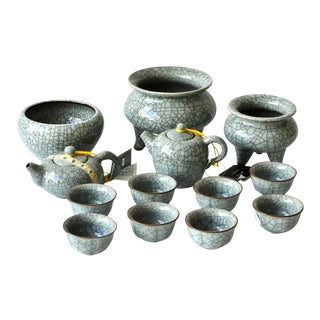 Ge Ware Celadon Porcelain Tea Serive and Incense Burners - Set of 13 For Sale