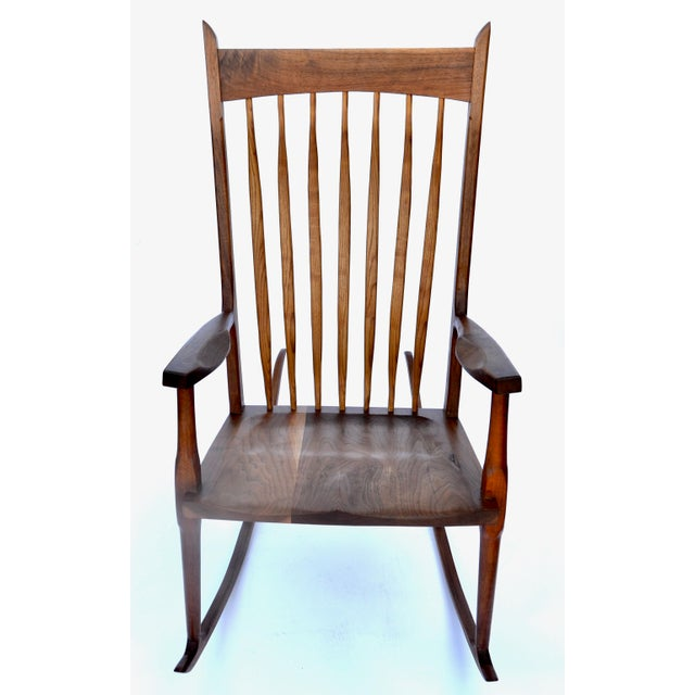 Wood Hand-Crafted Wooden Rocking Chair For Sale - Image 7 of 9