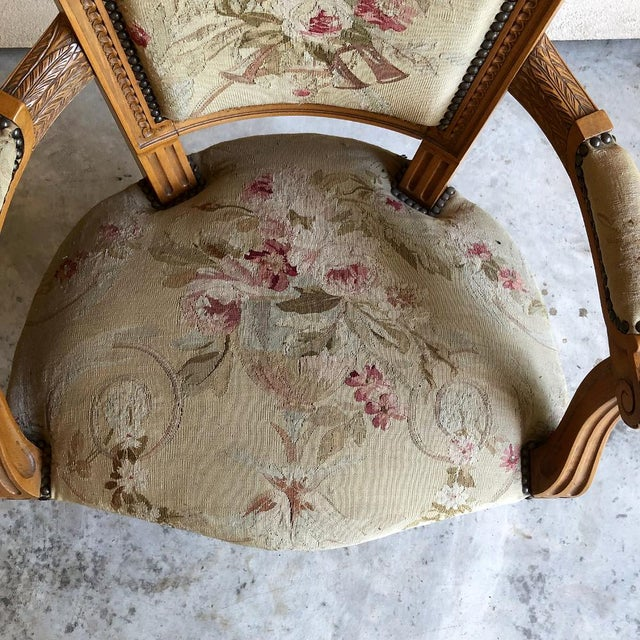 Pair of Louis XVI French Aubusson Tapestry Fruitwood Armchairs For Sale - Image 11 of 13