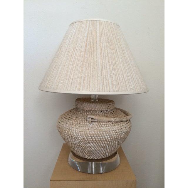 Richard Lindley Rattan Basket Lamp - Image 3 of 9